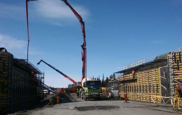 Wykonanie żelbetowej konstrukcji mostu w Mertainen (Szwecja)